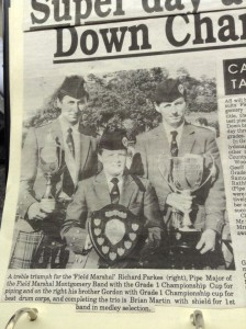 Grade 1 All Irelands Champions 1989. Brian is pictured (centre) with Drum Sergeant Gordon Parkes and Pipe Major Richard Parkes